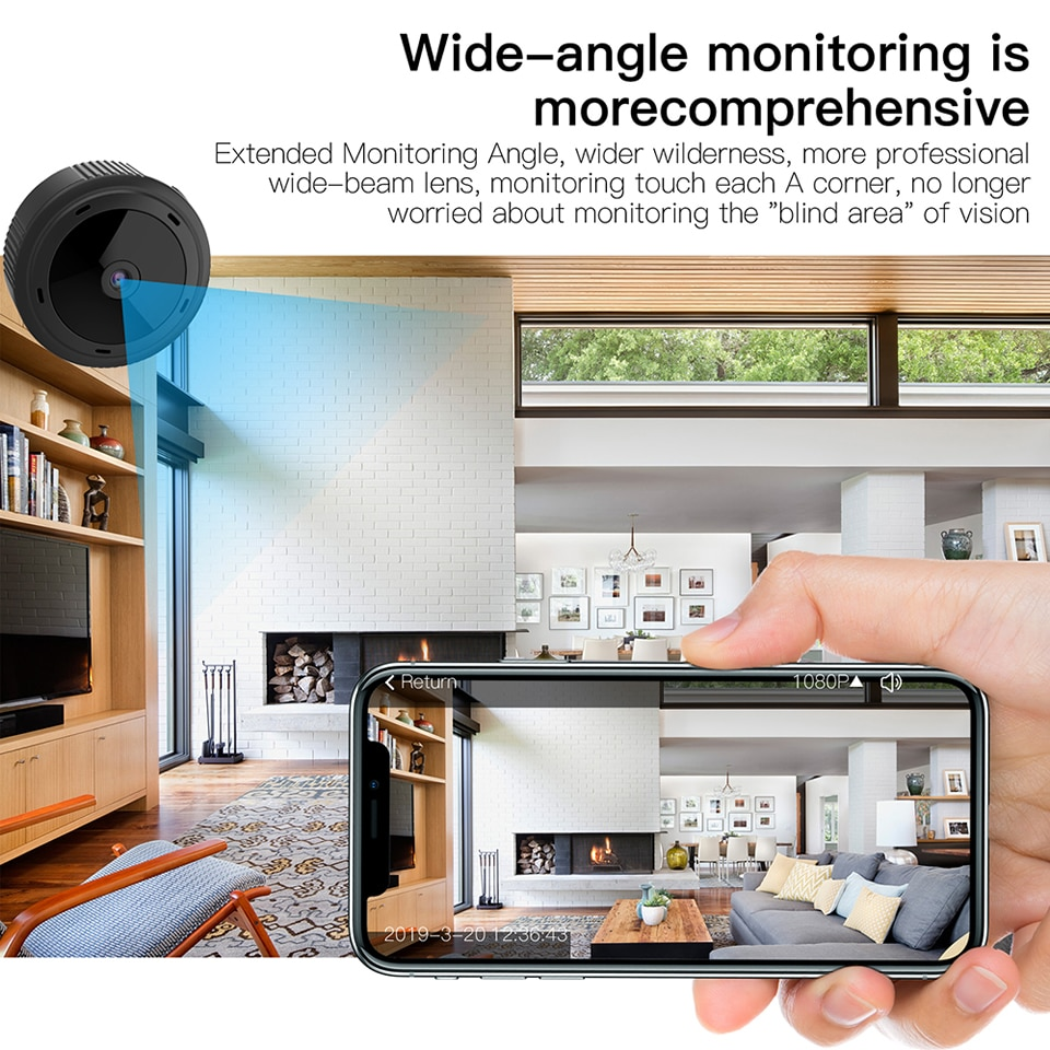 W10 1080P HD Mini WiFi Camera Night Vision CCTV Home Security DVR Detection Baby Monitor 2