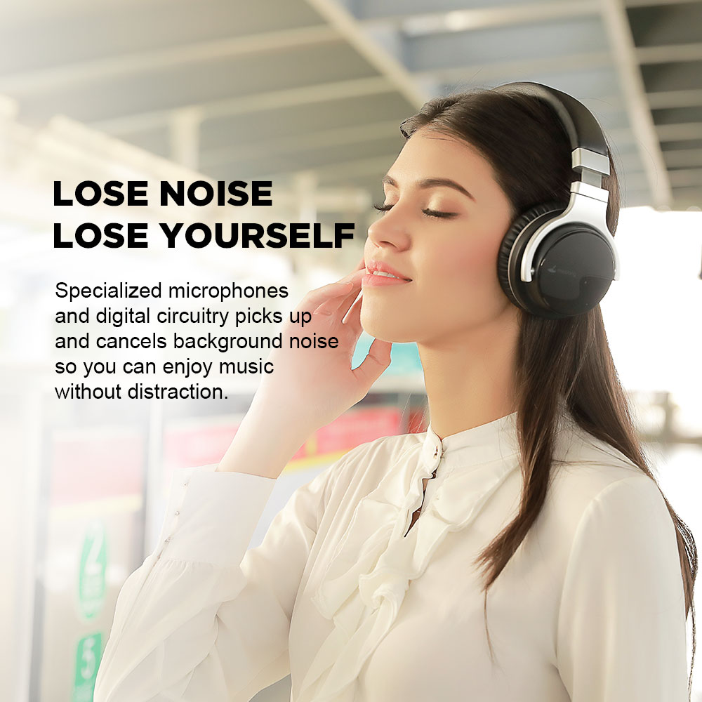 Meidong E7B Wireless Bluetooth Active Noise Cancelling Over Ear Headphones 30 Hours with Microphone 1