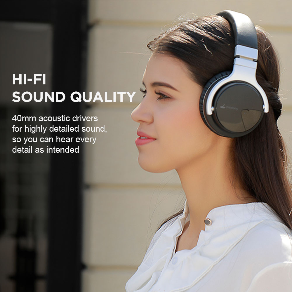 Meidong E7B Wireless Bluetooth Active Noise Cancelling Over Ear Headphones 30 Hours with Microphone 4