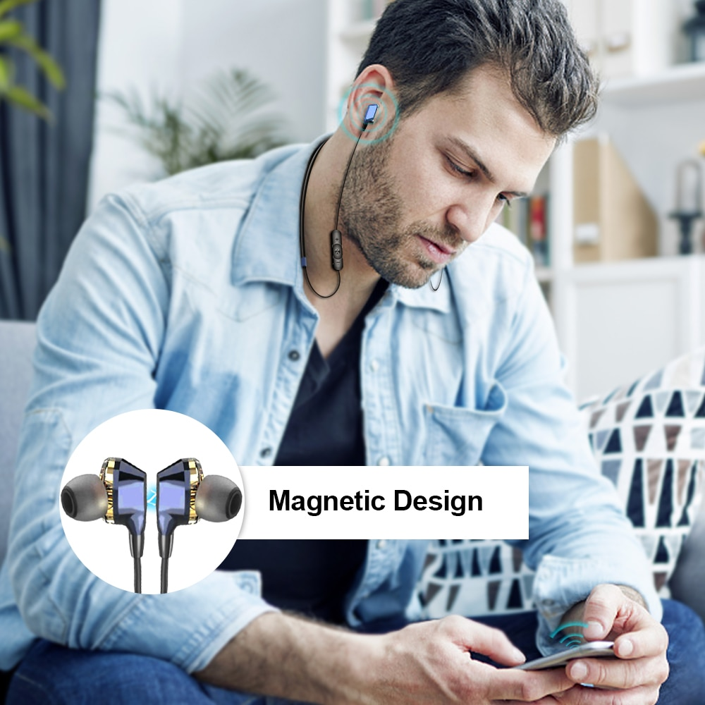 G02 Bluetooth Wireless Headphones Dual Drivers Stereo Magnetic with Mic 12H Music Time 5