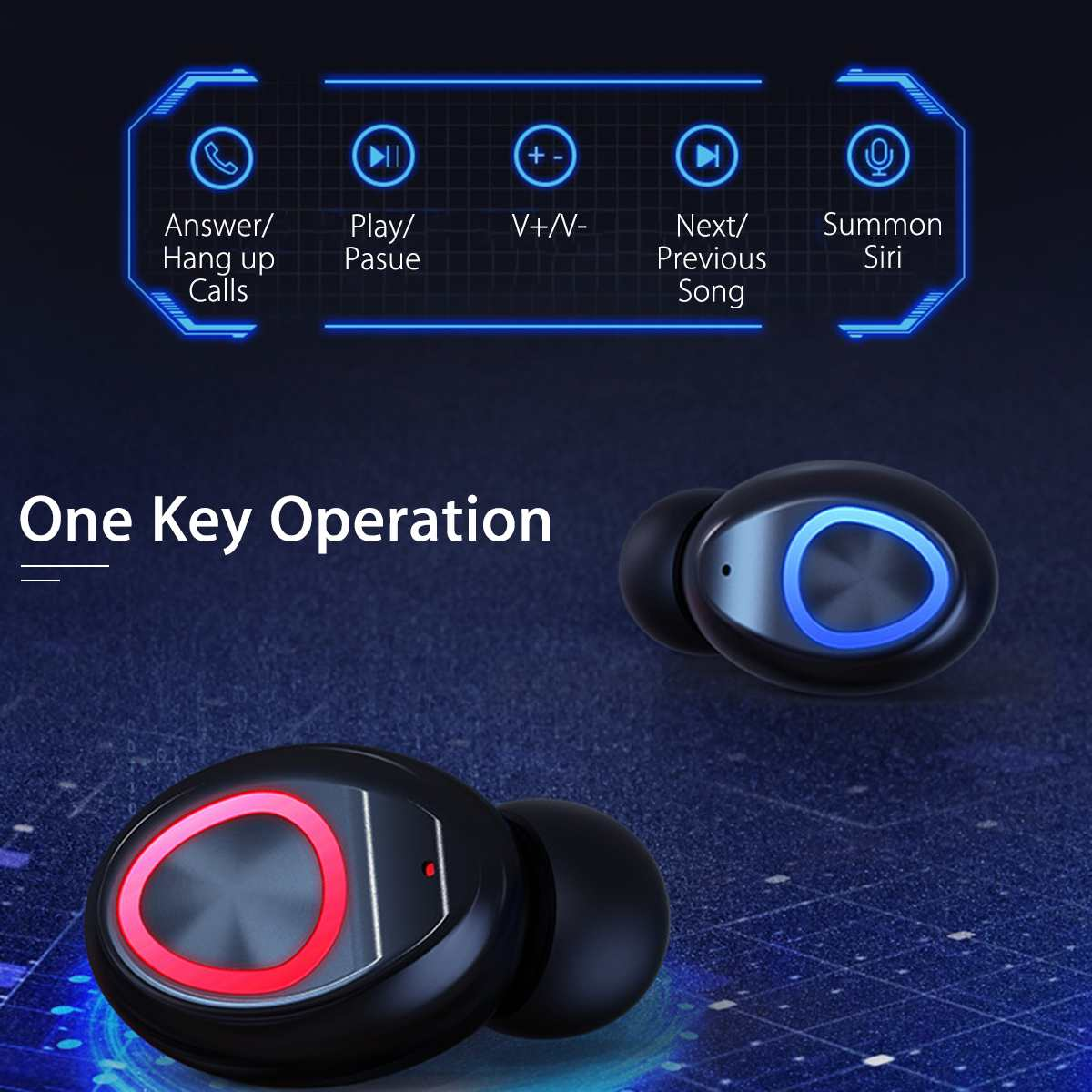 TWS True Wireless Earbuds Bluetooth V5.0 4000mAh Waterproof Active Noise-Cancellation 3