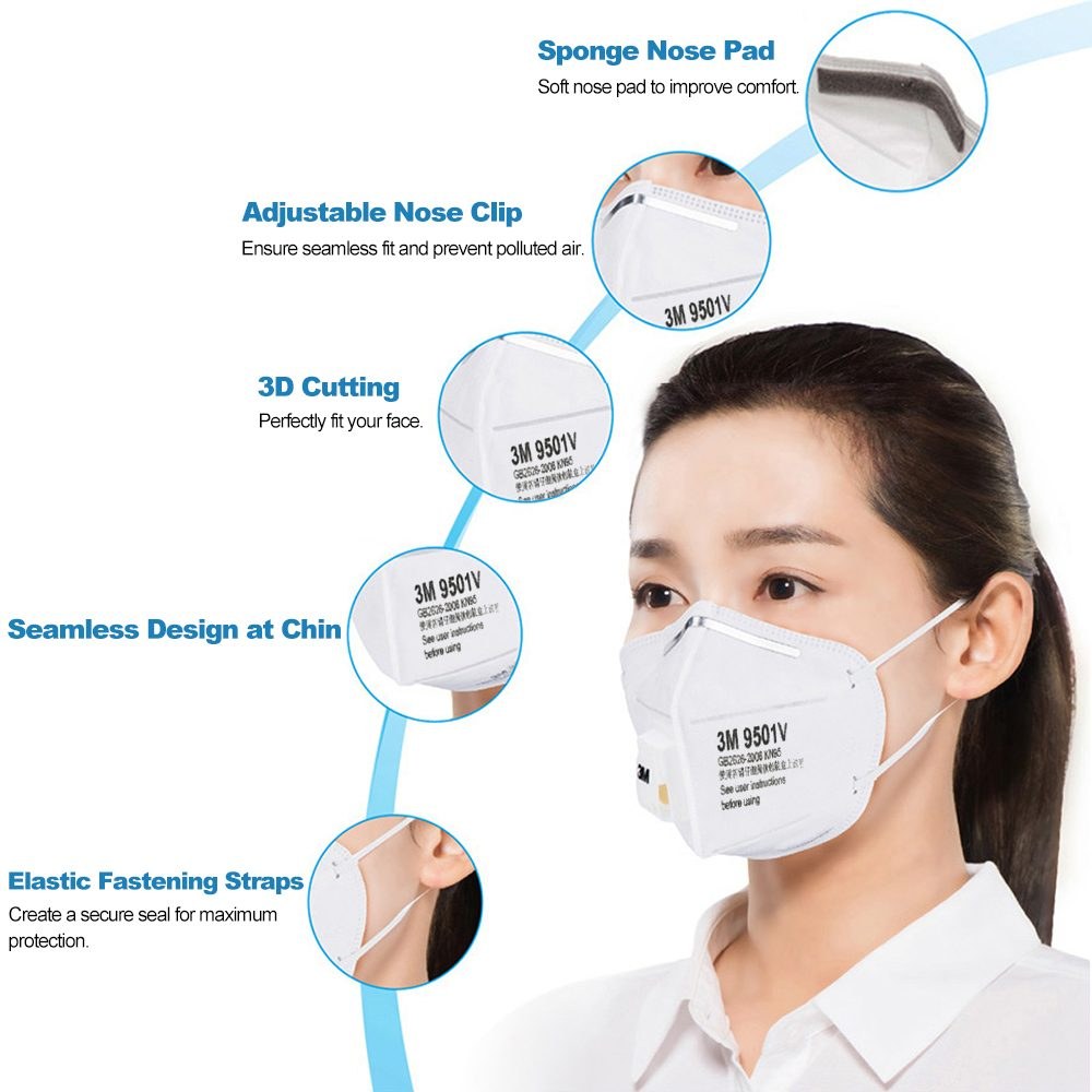 3m 9501v n95 mask particulate respirator kn95 face mask 3