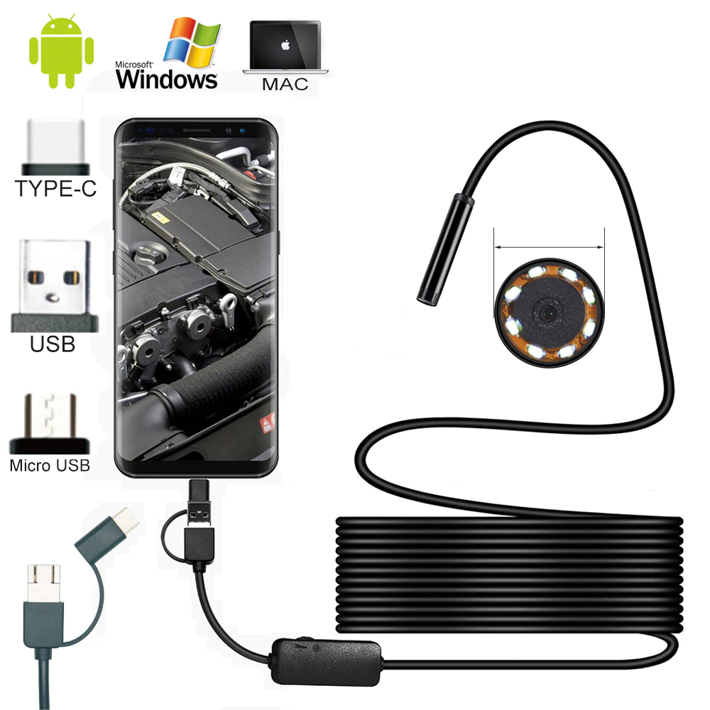 Wire Mini Endoscope Camera IP67 Waterproof 5.5mm Lens Borescopes for Android, PC 1
