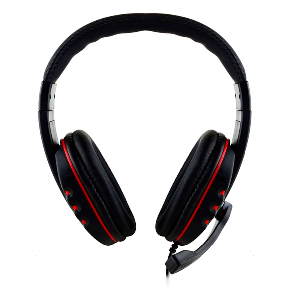 wired gaming headset deep bass game with microphone red