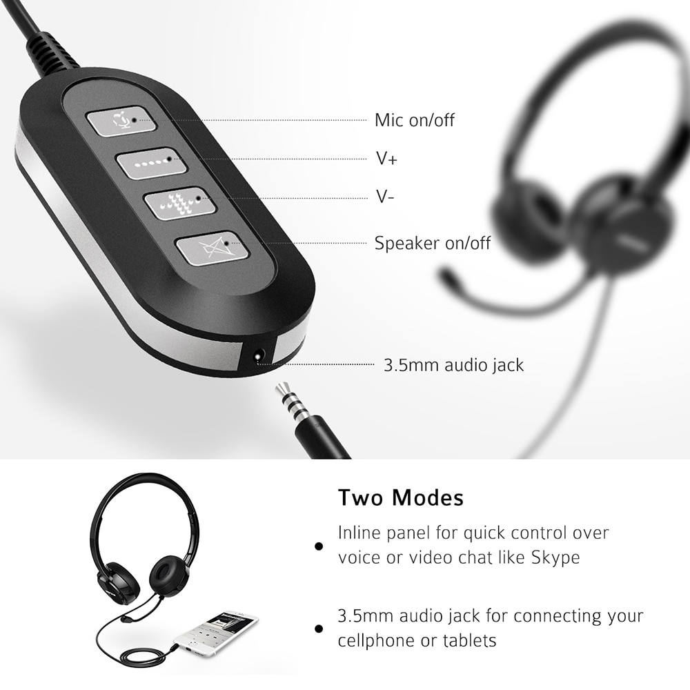 Mpow 071 USB Headset with Microphone Noise Cancelling Sound Card 3.5mm for Skype, Webinar, Call Center 5