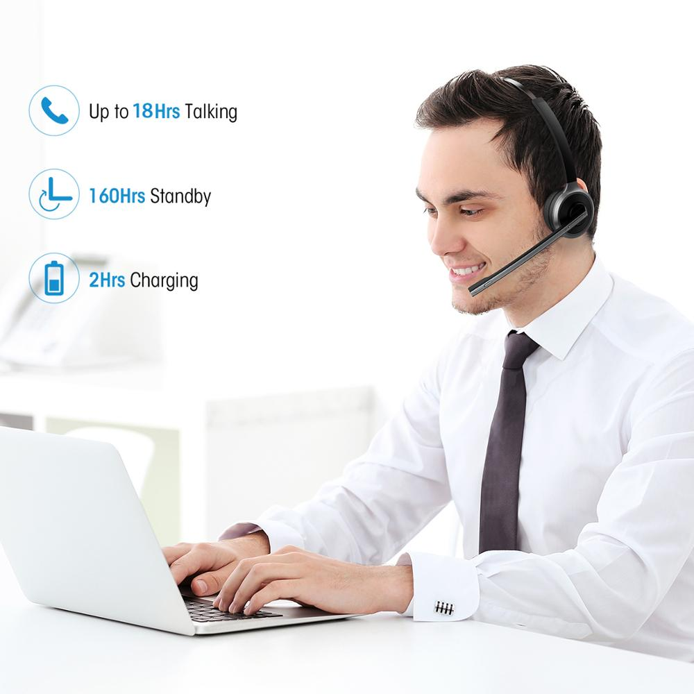 Mpow M5 Noise Cancelling Bluetooth Headsets with Mic, Charging Base for Cell Phone, PC, Laptop, Truck Driver, Office, Call Center, Skype 4