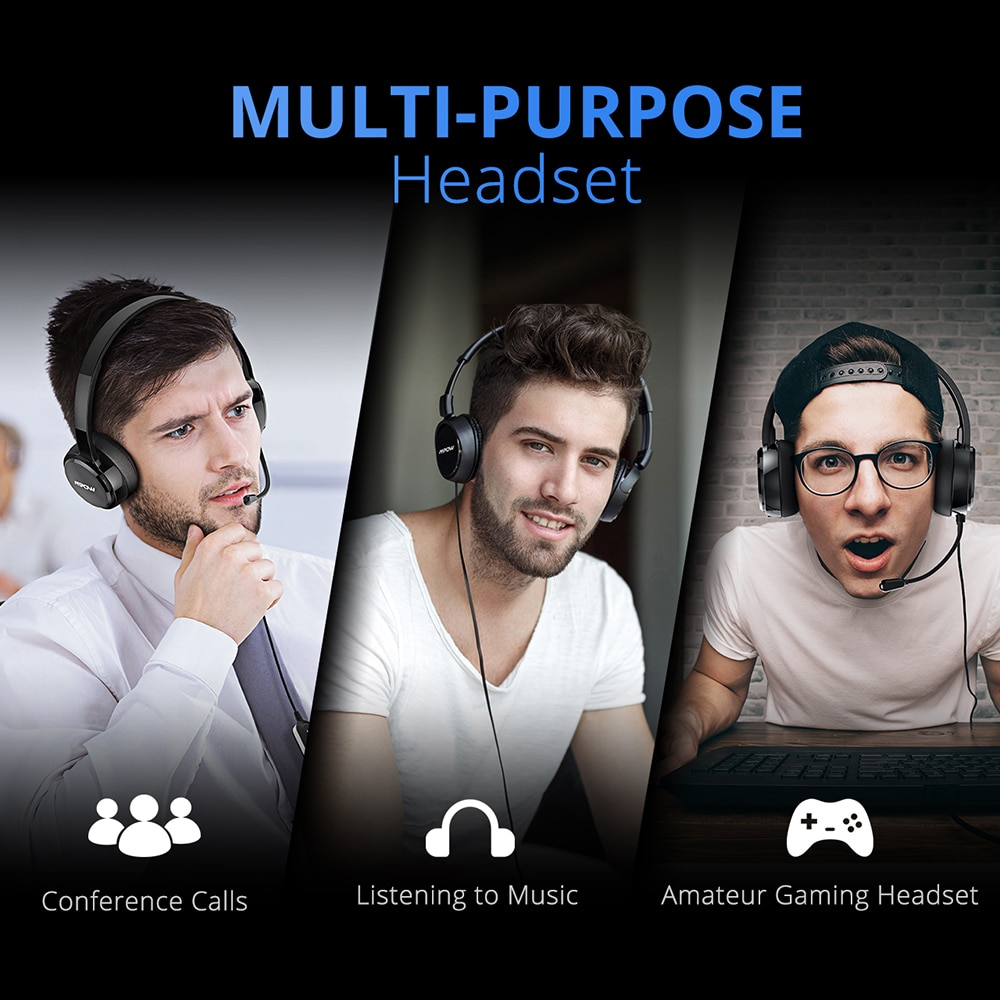 Mpow 071 USB Headset with Microphone Noise Cancelling Sound Card 3.5mm for Skype, Webinar, Call Center 2