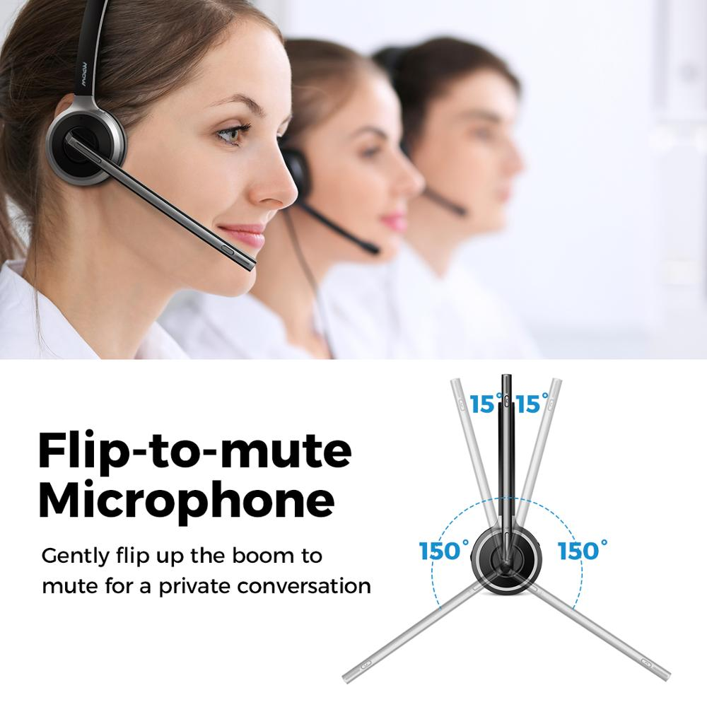 Mpow M5 Noise Cancelling Bluetooth Headsets with Mic, Charging Base for Cell Phone, PC, Laptop, Truck Driver, Office, Call Center, Skype 6