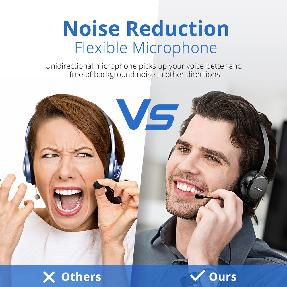 Mpow 071 USB Headset with Microphone Noise Cancelling Sound Card 3.5mm for Skype, Webinar, Call Center 3
