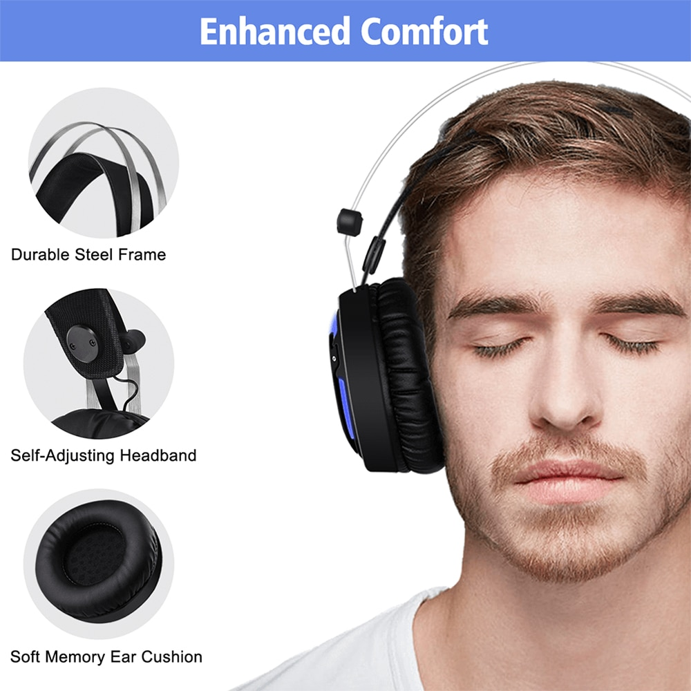 ALWUP A6 USB Gaming Headphones with Microphone for Computer PC, PS4 Xbox One 4