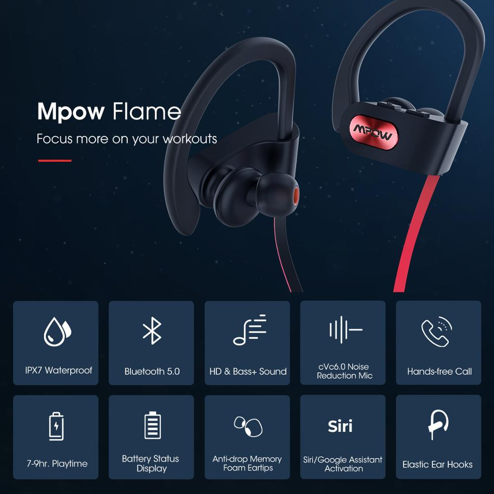 Mpow Flame IPX7 Waterproof Bluetooth 4.1 HiFi Stereo Noise Cancelling Headphones with Mic 3
