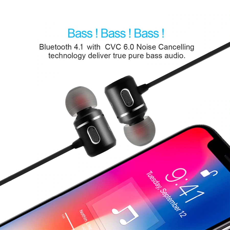 C10 Bluetooth Wireless Earphones with Mic Stereo Sport HiFI Bass Hands-free 2