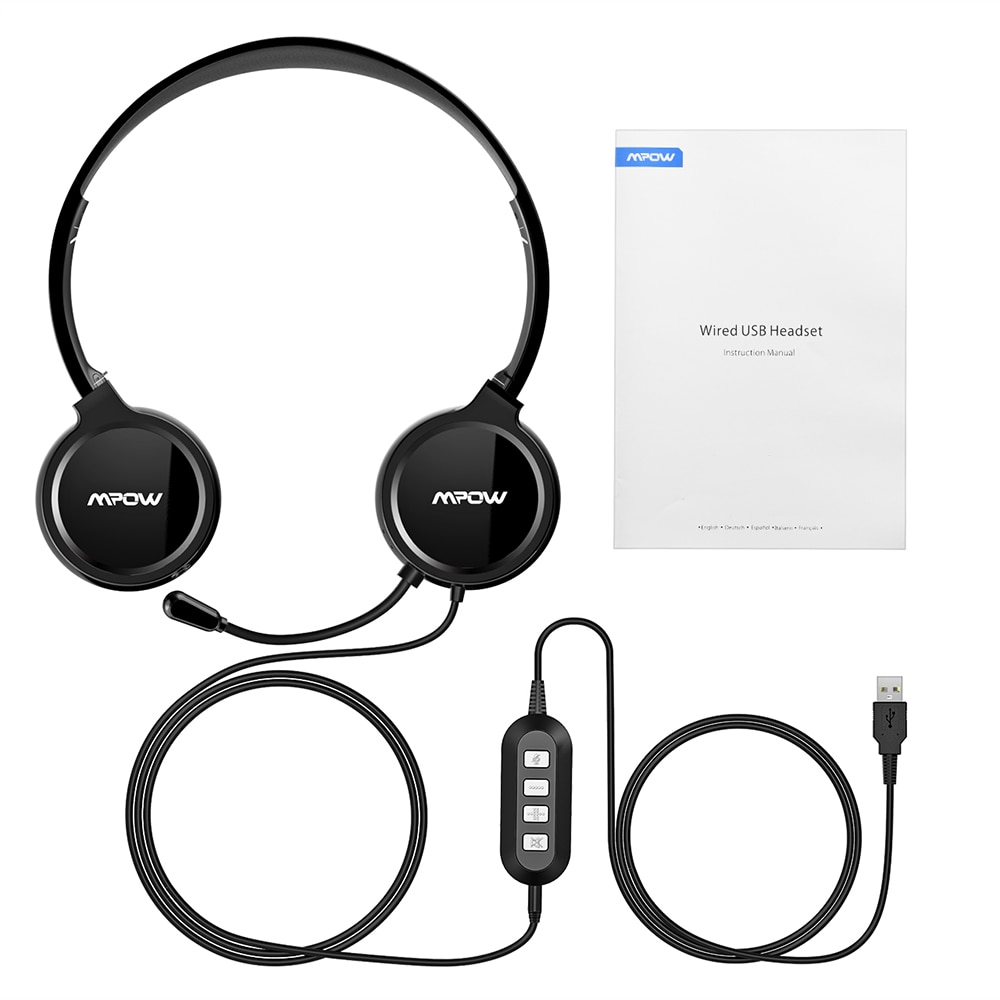 Mpow 071 USB Headset with Microphone Noise Cancelling Sound Card 3.5mm for Skype, Webinar, Call Center 6