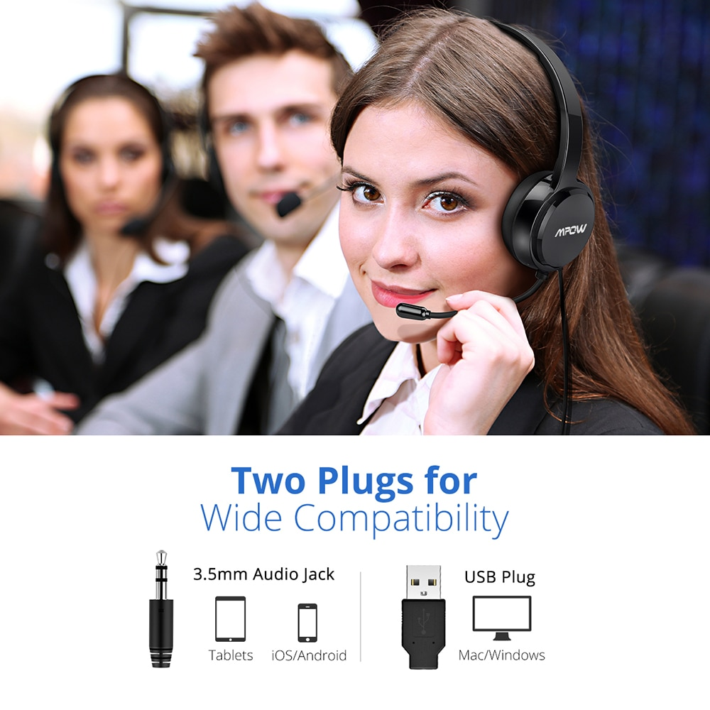 Mpow 071 USB Headset with Microphone Noise Cancelling Sound Card 3.5mm for Skype, Webinar, Call Center 4