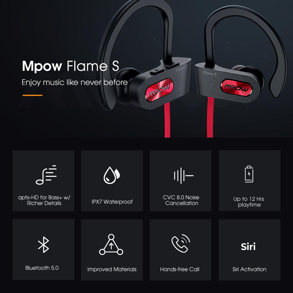 Mpow Flame S Bluetooth 5.0 Wireless CVC 8.0 Noise Cancelling Headphones Aptx-HD Sound iPX7 Sweatproof 12h Playtime 3