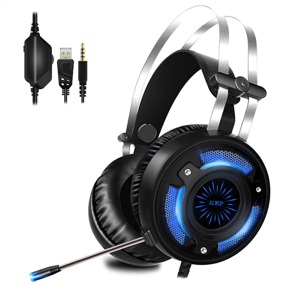 alwup a6 usb gaming headphones with microphone for computer pc ps4 xbox one