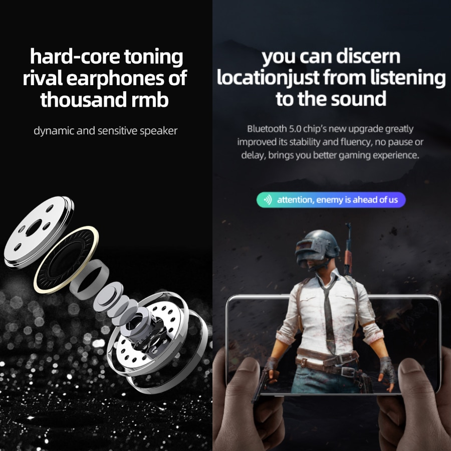 8D TWS Noise Cancellation Earbuds with Mic Wireless Bluetooth V5.0 Waterproof 3