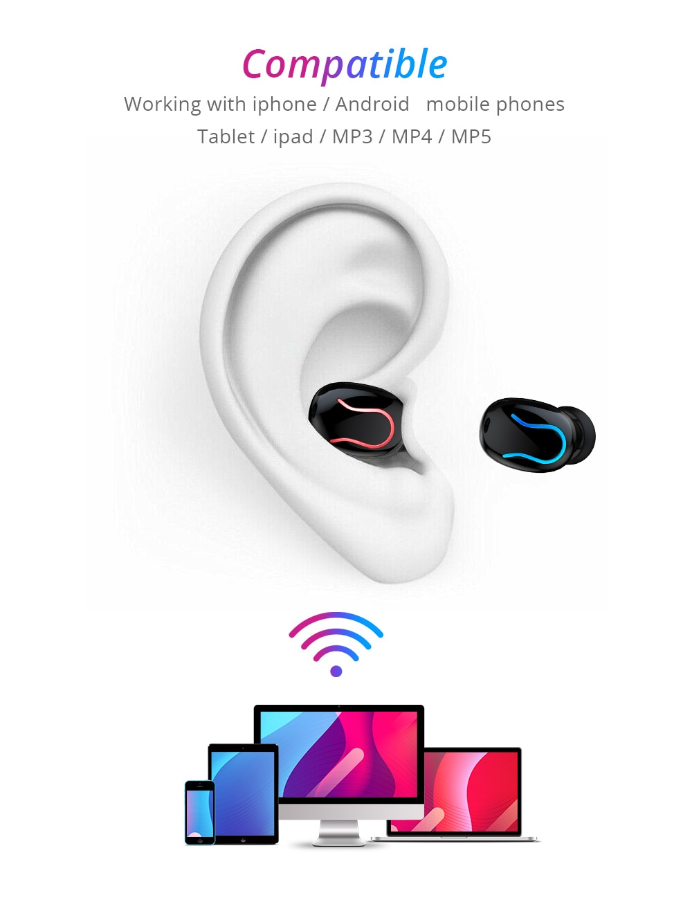 True TWS Noise Cancellation Earbuds 8D Stereo Wireless Bluetooth V5.0 with Microphone 6
