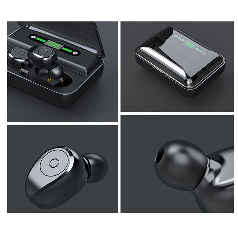 True Wireless Earbuds Bluetooth V5.0 LED Display IPX7 Waterproof with Power Bank 2