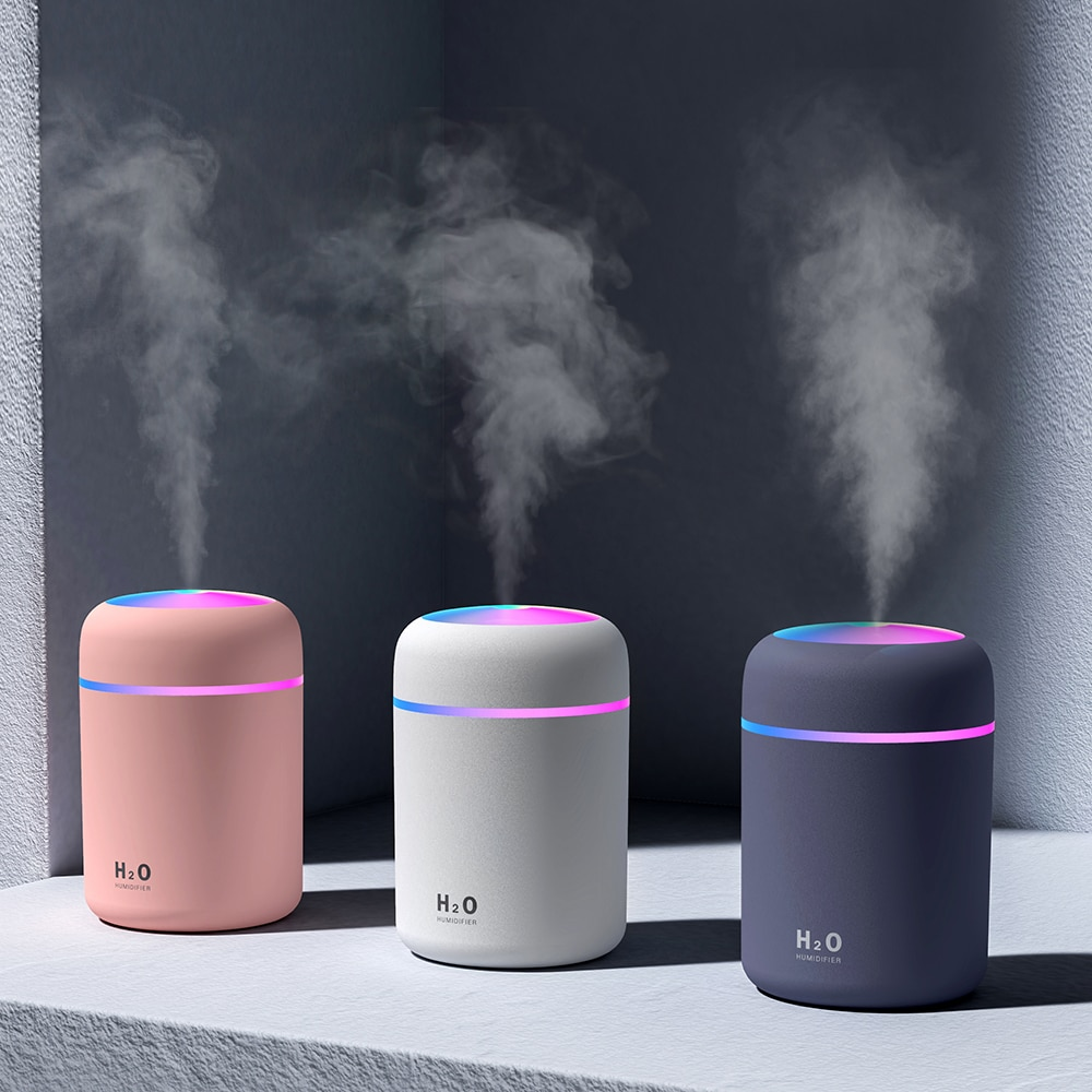 usb portable mini air humidifier led ultrasonic aroma air diffusers 300ml cool mist essential oil